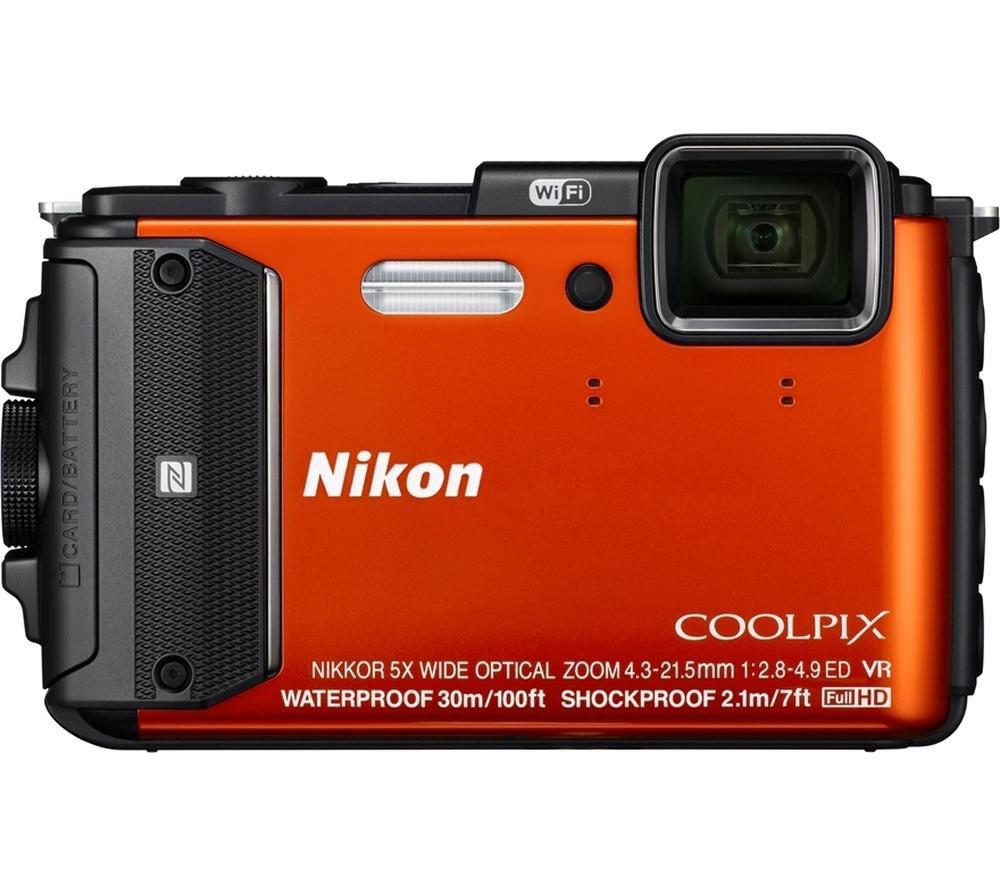 NIKON  COOLPIX AW130 Tough Compact Camera - Orange +  Hard Shell Camera Case - Black