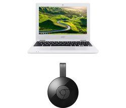ACER 11 CB3-131 Chromebook & Chromecast Bundle - White