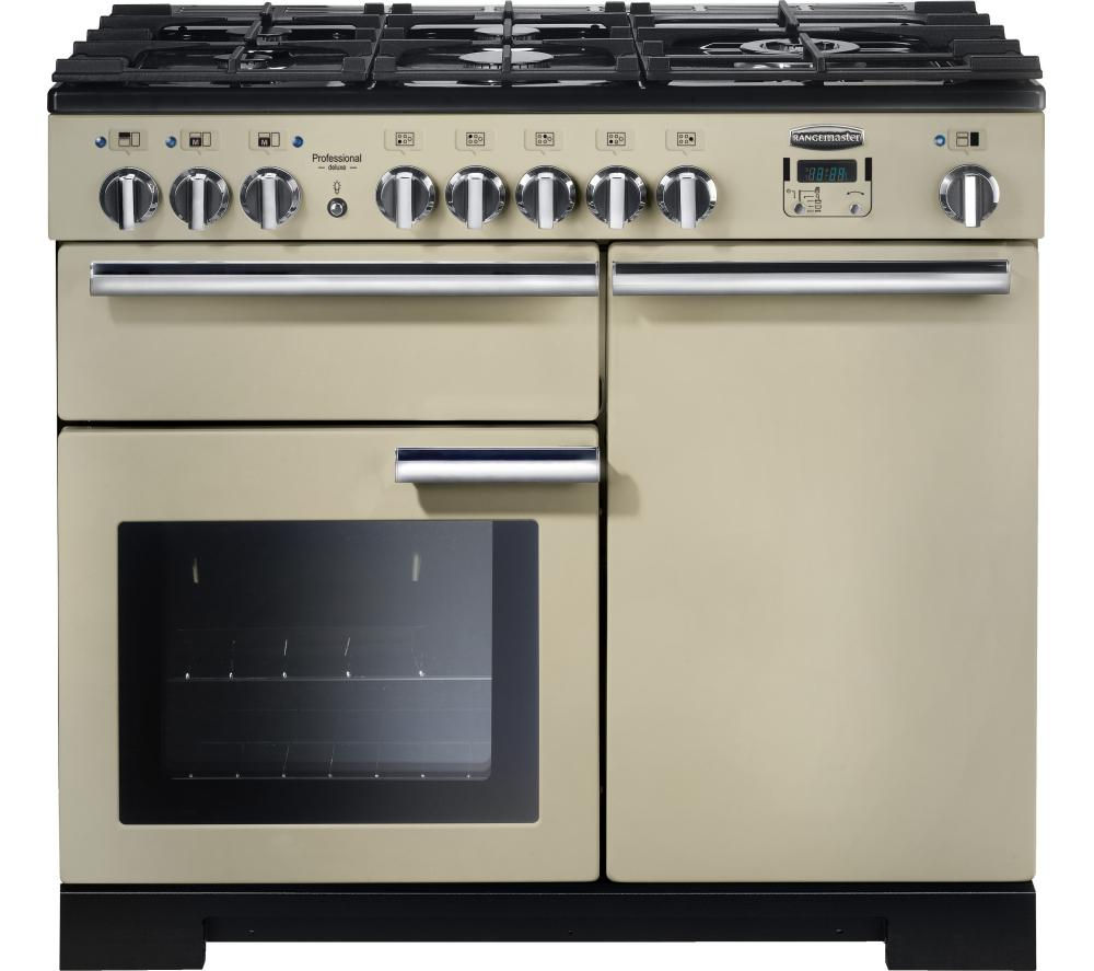RANGEMASTER Professional Deluxe 100 Dual Fuel Range Cooker - Cream & Chrome
