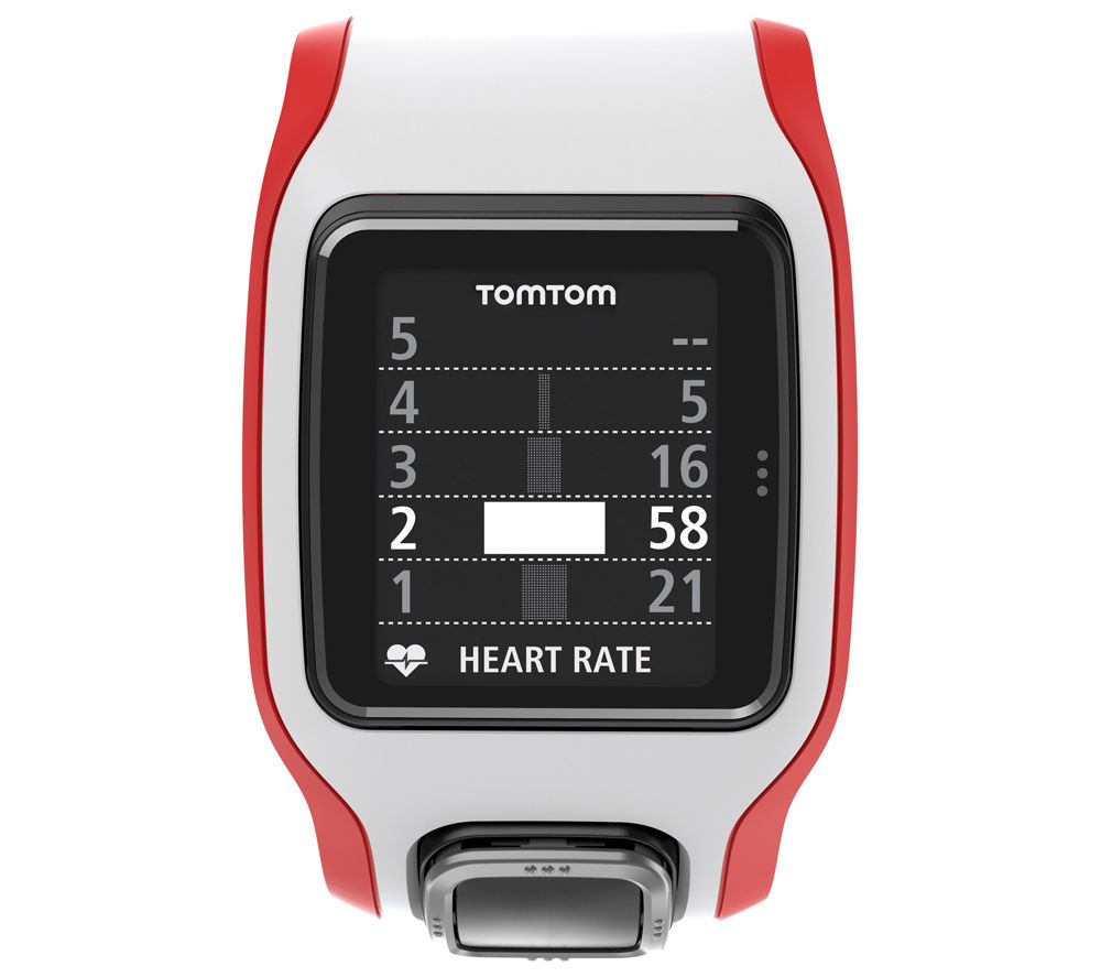 Tomtom Multi-Sport Cardio GPS Sports Watch - White & Red, Red