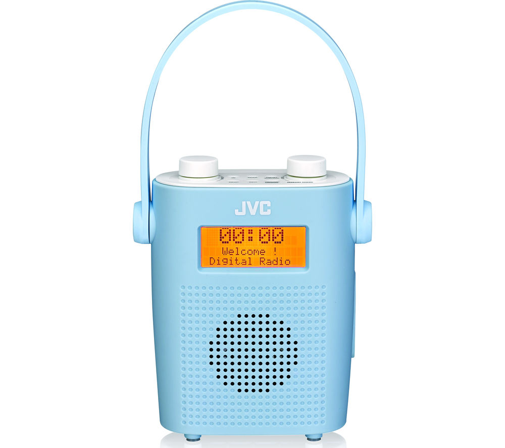 Click to view more of JVC  RA-D11-A Portable DAB/FM Bathroom Clock Radio - Blue, Blue