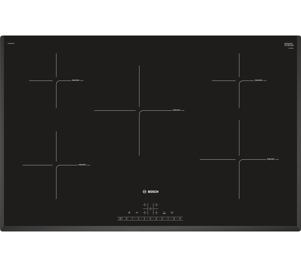 buy bosch piv851fb1e electric induction hob black free delivery currys. Black Bedroom Furniture Sets. Home Design Ideas