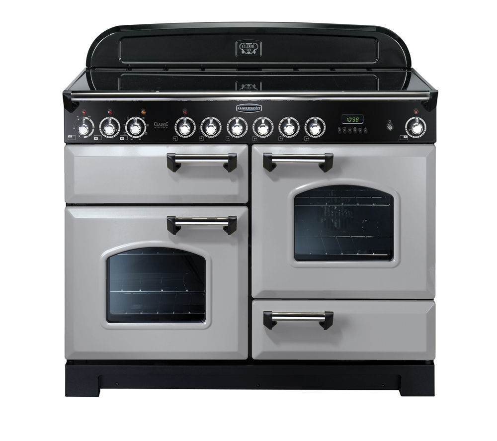 RANGEMASTER Classic Deluxe 110 Electric Ceramic Range Cooker - Royal Pearl & Chrome