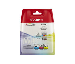 CANON CLI-521 Cyan, Magenta & Yellow Ink Cartridges - Multipack