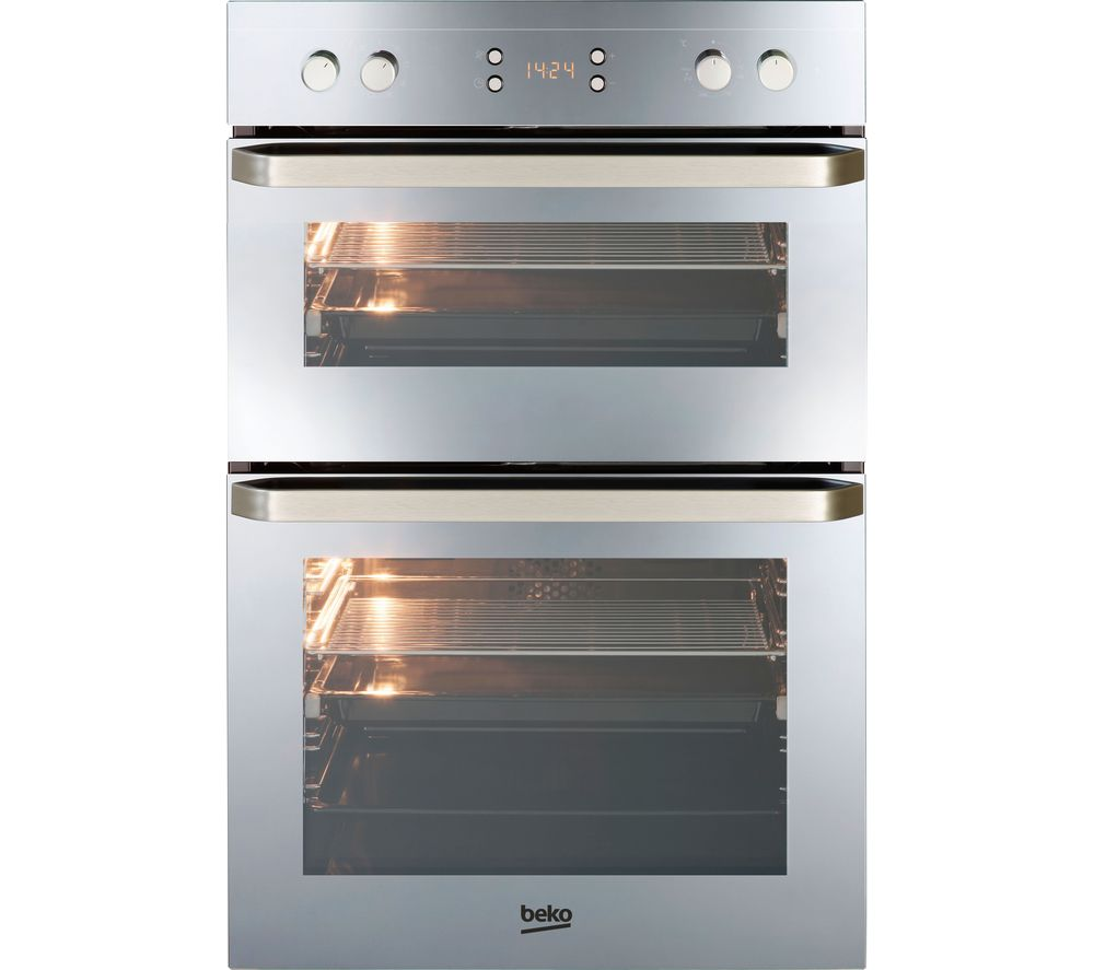 BEKO  ODF24300M Electric Double Oven - Mirror +  HCMW64225SX Gas Hob - Stainless Steel