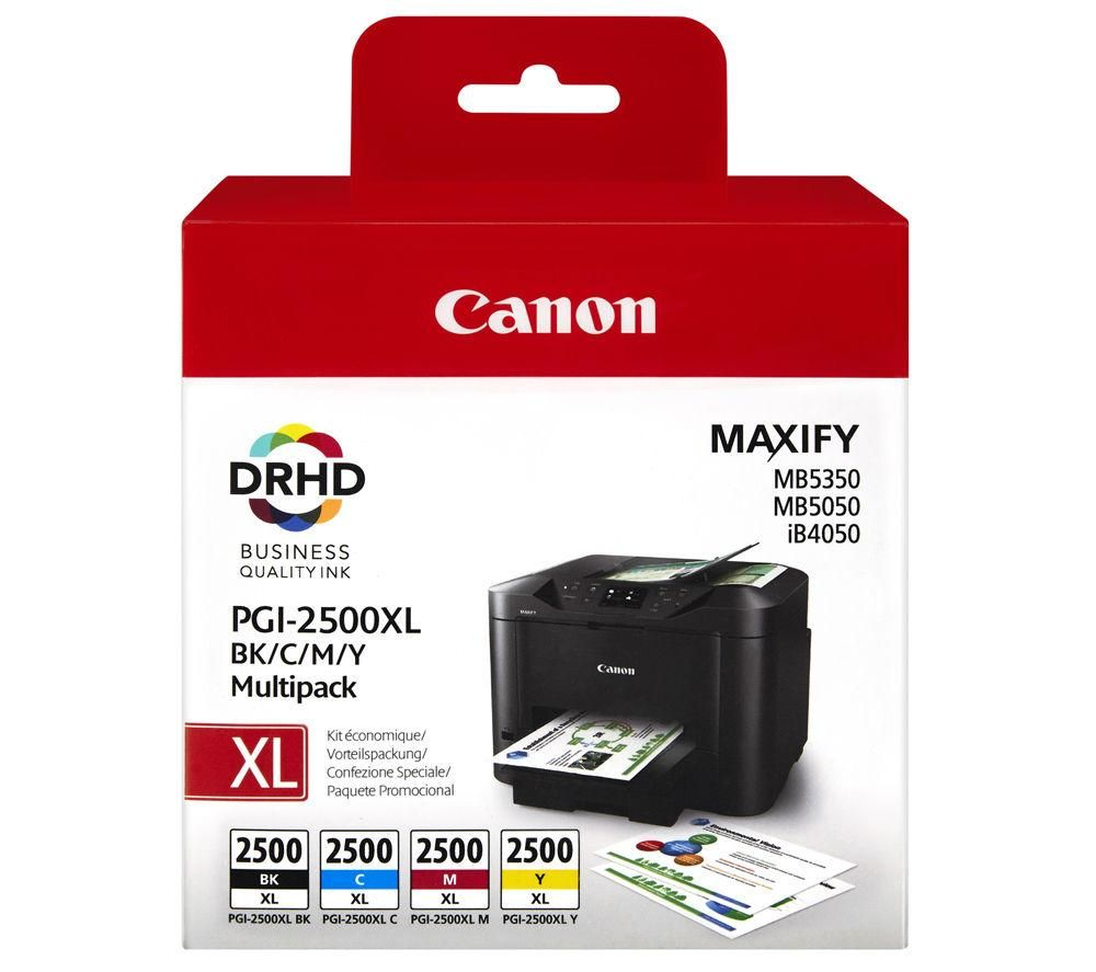 Canon PGI-2500XL Black, Cyan, Magenta & Yellow Ink Cartridges - Multipack