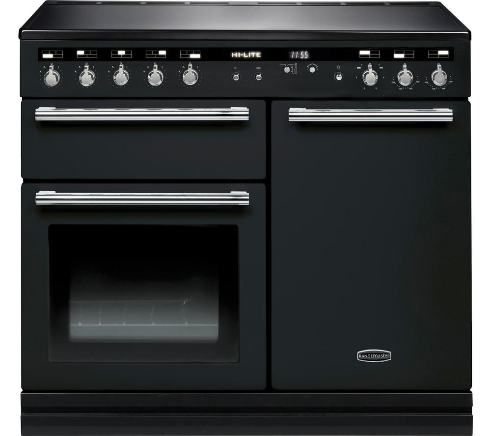 RANGEMASTER Hi-LITE 100 Electric Induction Range Cooker - Black & Chrome