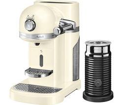 NESPRESSO by KitchenAid Artisan 5KES0504BAC Coffee Machine with Aeroccino 3 - Almond Cream