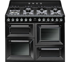 SMEG Victoria TR4110BL1 110 cm Dual Fuel Range Cooker - Black & Stainless Steel