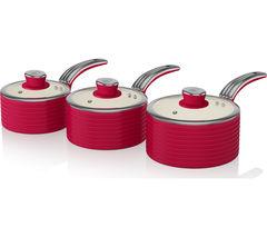 SWAN Retro 3-piece Non-stick Saucepan Set -  Red