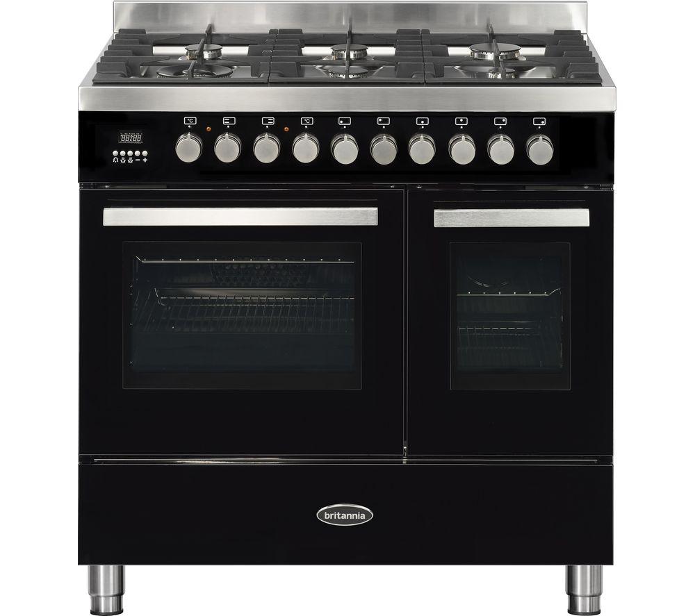 BRITANNIA Sonetto 90DF TC Dual Fuel Range Cooker - Black & Stainless Steel