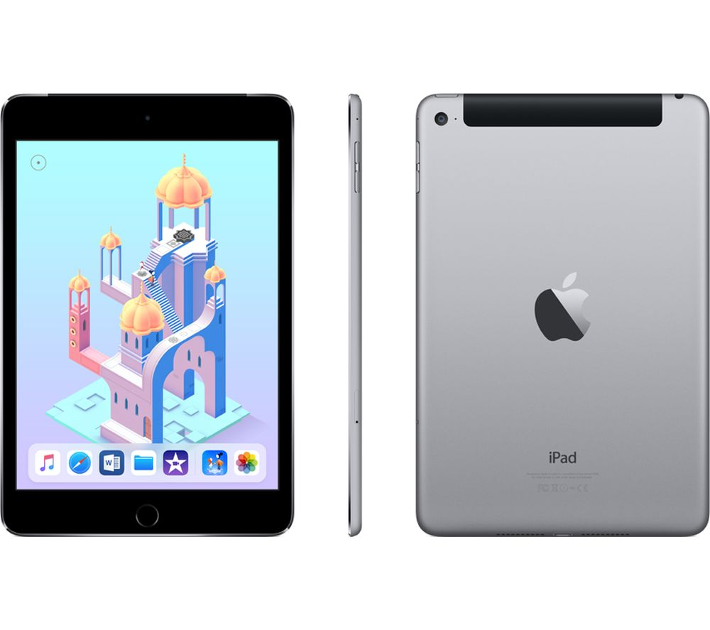 APPLE iPad mini 4 Cellular - 128 GB, Space Grey + MD836B/B USB Power Adapter