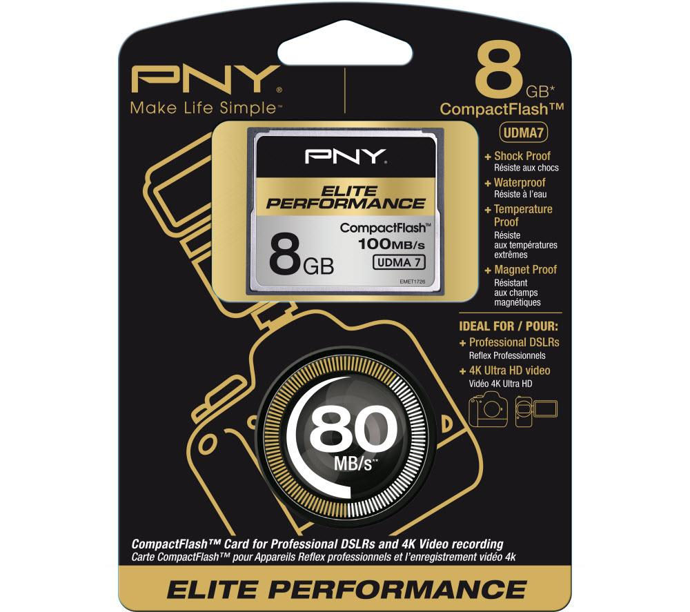 Pny Elite Performance CompactFlash Memory Card  8 GB