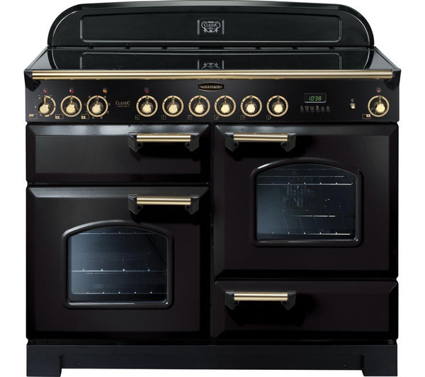 Rangemaster Classic Deluxe 110 Electric Ceramic Range Cooker  Black & Brass Black