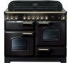 RANGEMASTER Classic Deluxe 110 Electric Ceramic Range Cooker -  Black & Brass
