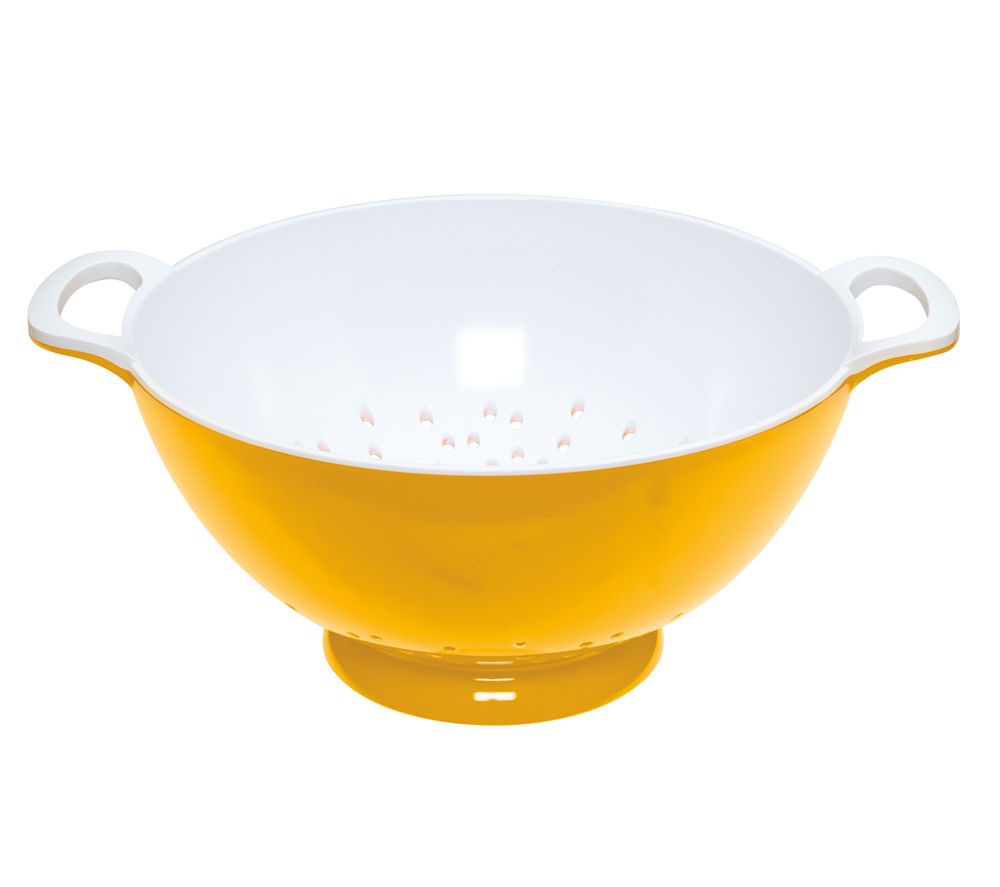 COLOURWORKS Large 24 cm Colander - Yellow & White