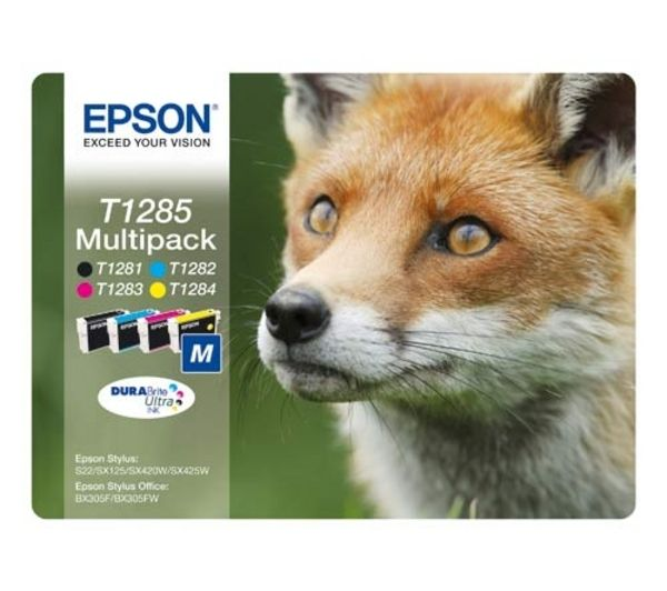 EPSON Fox T1285 Cyan, Magenta, Yellow & Black Ink Cartridges - Multipack