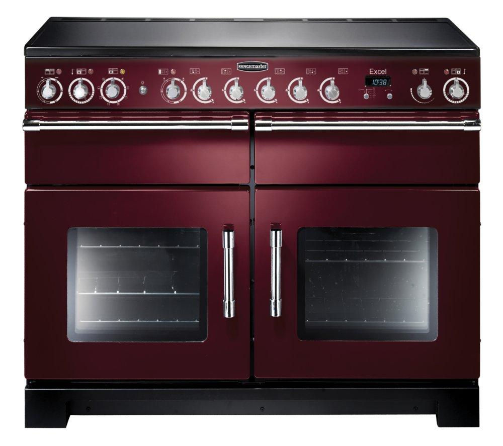 RANGEMASTER Excel 110 Electric Ceramic Range Cooker - Cranberry & Chrome