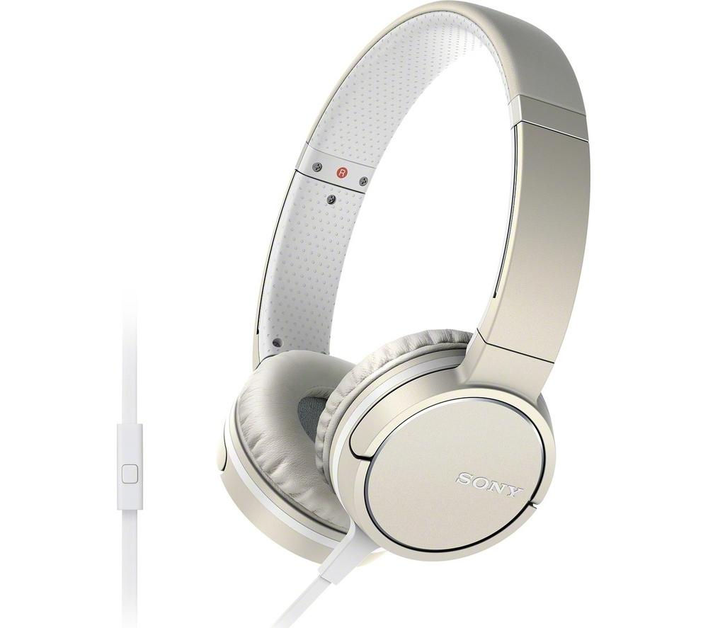 SONY MDR-ZX660AP Headphones - Cream + iPhone 7 Lightning to 3.5 mm Headphone Jack Adapter