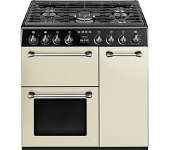 SMEG Blenheim 90 cm Dual Fuel Range Cooker - Cream & Black