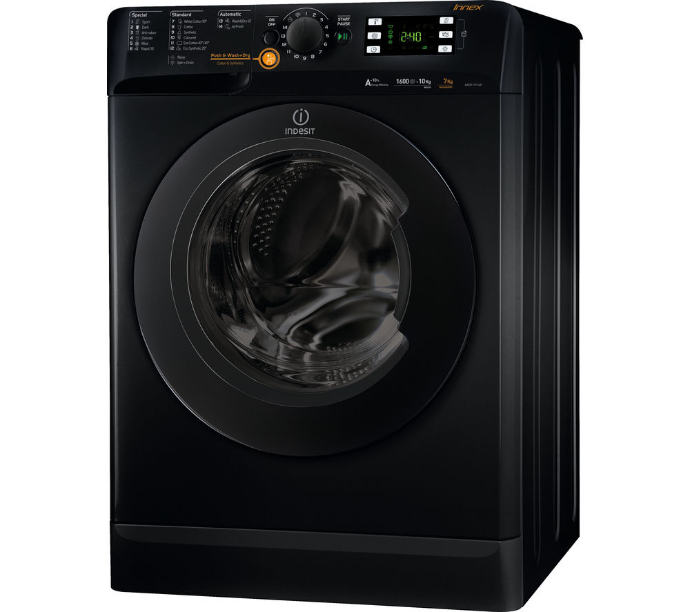 buy indesit innex xwde751480xs washer dryer black free delivery currys. Black Bedroom Furniture Sets. Home Design Ideas