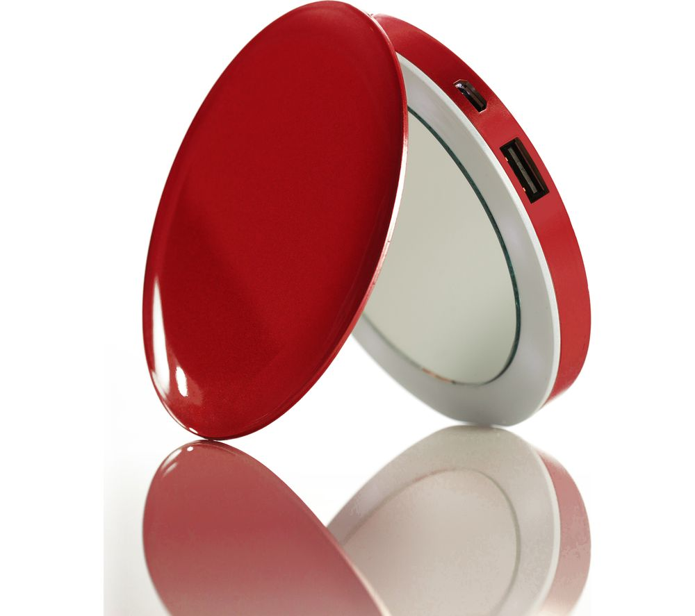 HYPER Pearl Make-Up Mirror 3K Portable Power Bank - Red