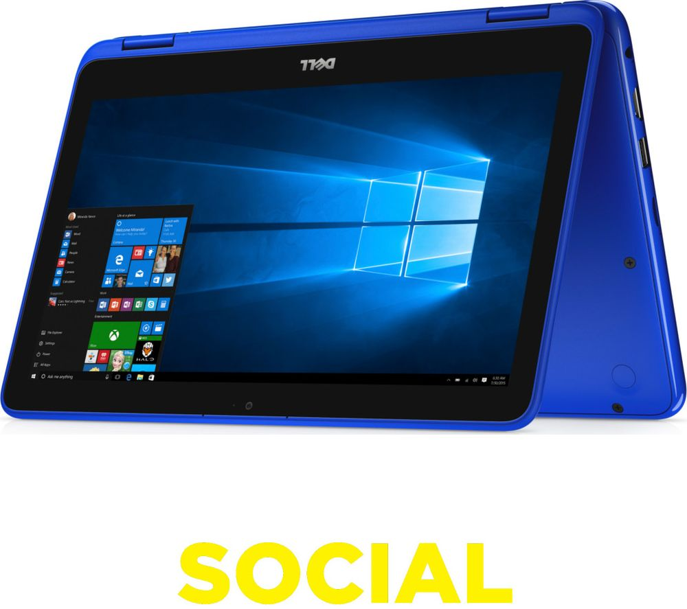"DELL Inspiron 11 3000 11.6"" Touchscreen 2 in 1 - Blue + LiveSafe Unlimited 2017 - 1 year"