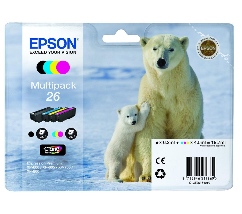 EPSON Polar Bear T2616 Cyan, Magenta, Yellow & Black Ink Cartridges - Multipack