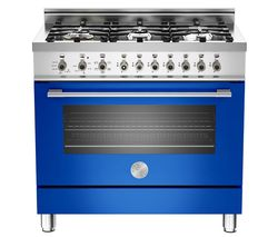 BERTAZZONI Professional 90 Dual Fuel Range Cooker - Blue & Stainless Steel