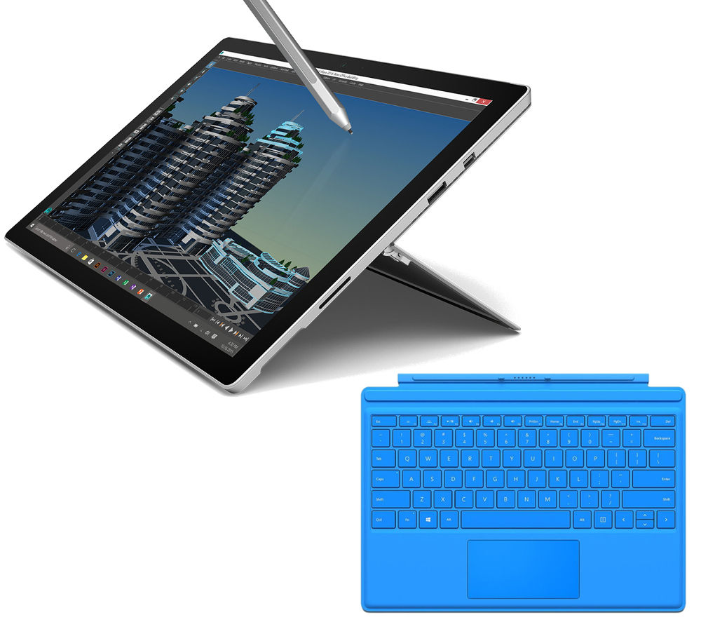 MICROSOFT  Surface Pro 4 128 GB & Bright Blue Typecover Bundle, Blue