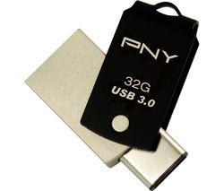 PNY Duo-Link USB 3.0 and USB Type-C Memory Stick - 32 GB, Black
