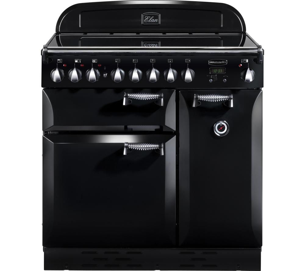 RANGEMASTER  Elan 90 Electric Ceramic Range Cooker  Black & Chrome Black