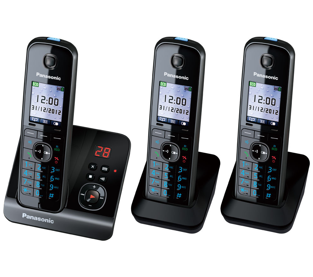 PANASONIC KX-TG8163EB Cordless Phone with Answering Machine - Triple Handsets