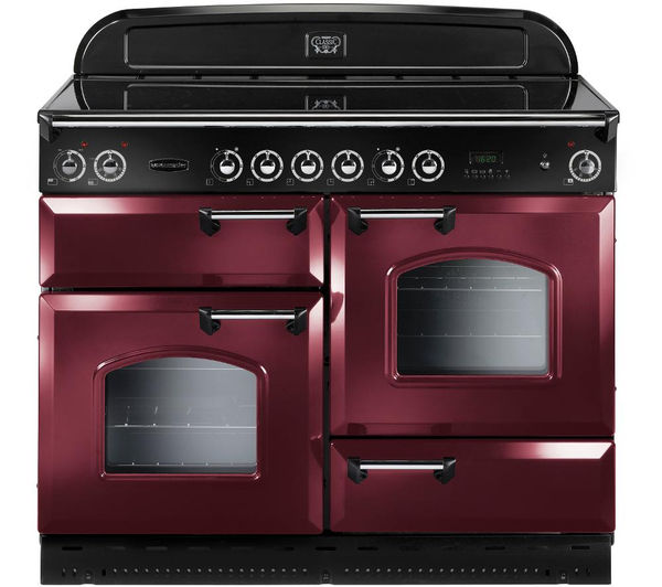 Rangemaster Classic 110 Electric Ceramic Range Cooker  Cranberry & Chrome Cranberry