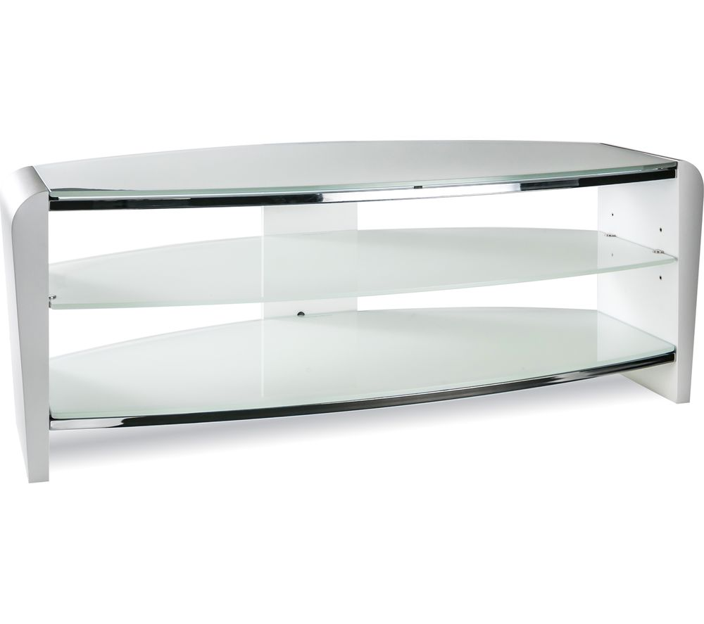 ALPHASON  Francium 1100 TV Stand  White & White Glass White