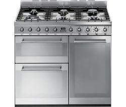 SMEG Symphony 90 cm Dual Fuel Range Cooker - Stainless Steel