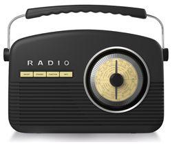AKAI Portable DAB+/FM Retro Bluetooth Clock Radio - Black