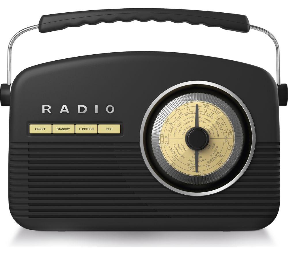 Image of AKAI A60010DABBT Portable DABﱓ Retro Bluetooth Clock Radio - Black, Black