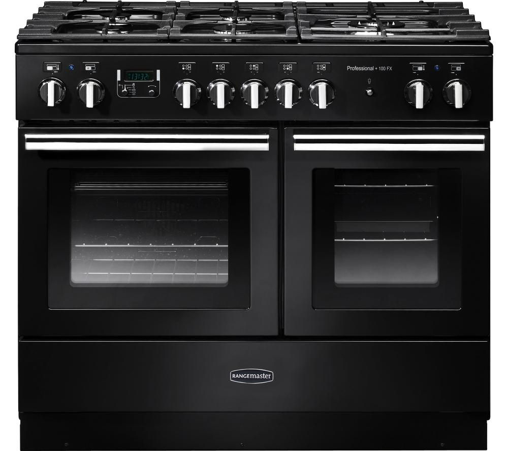 RANGEMASTER Professional+ FX 100 Dual Fuel Range Cooker - Gloss Black & Chrome