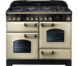 RANGEMASTER Classic Deluxe 110 Dual Fuel Range Cooker - Cream & Brass