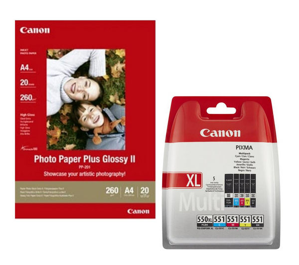CANON PGI-550XL/CLI-551 Cyan, Magenta, Yellow & Black Ink Cartridges with 20 Sheets A4 Glossy Photo Paper