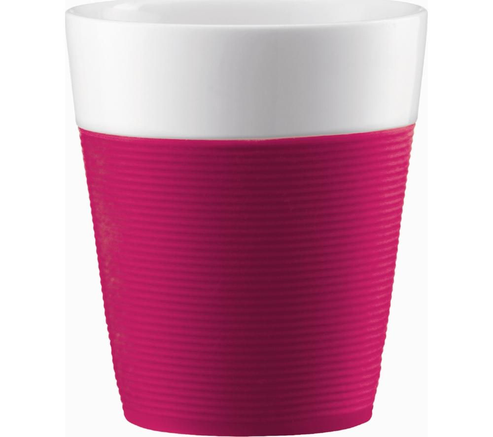 BODUM Bistro Porcelain Mug with Silicone Band - Pink, Pack of 2