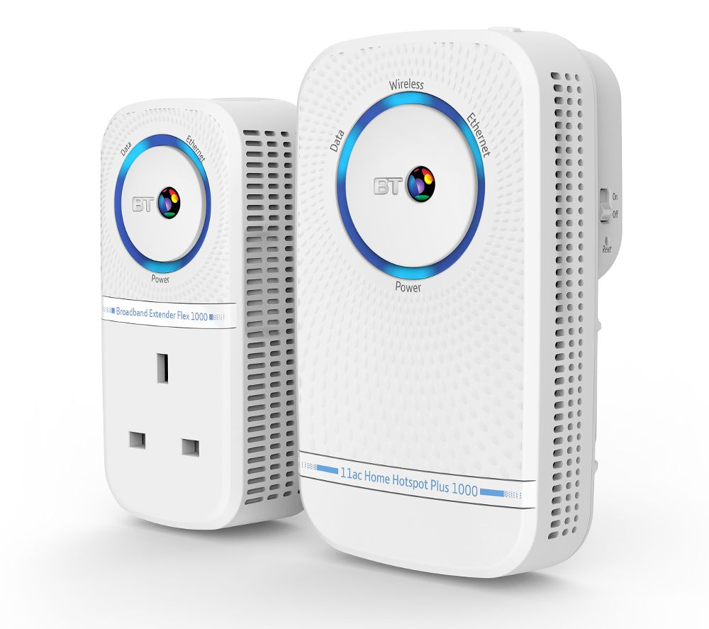 BT Home Hotspot Plus 1000 Wireless Powerline Adapter Kit - Twin Pack