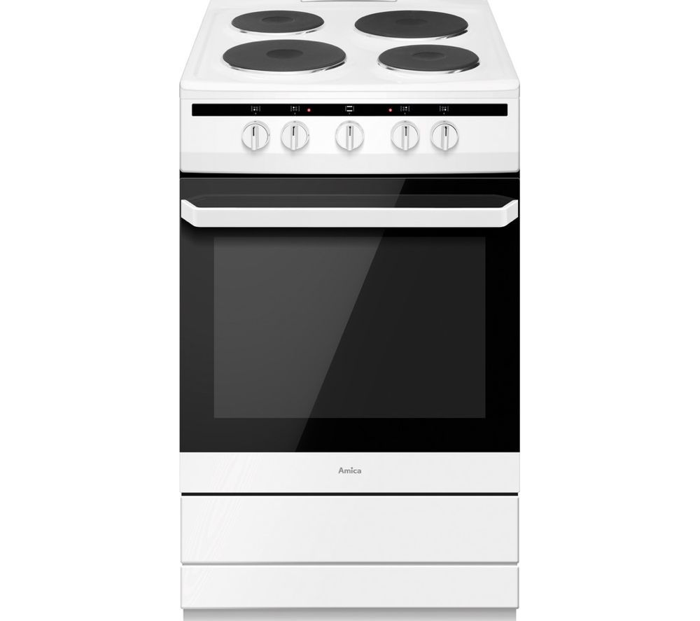 Image of AMICA 508EE1(W) 50 cm Electric Cooker - White, White