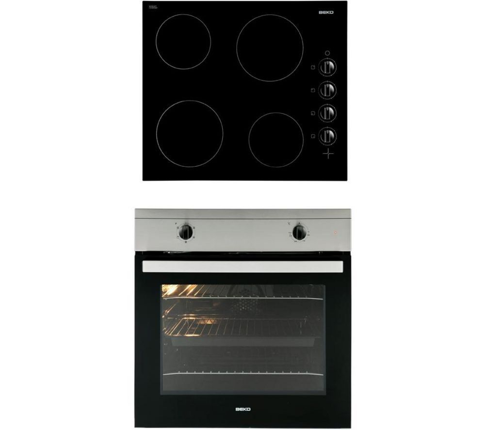 BEKO OSF21121X Built-in Electric Single Oven & Ceramic Hob - Stainless Steel & Black