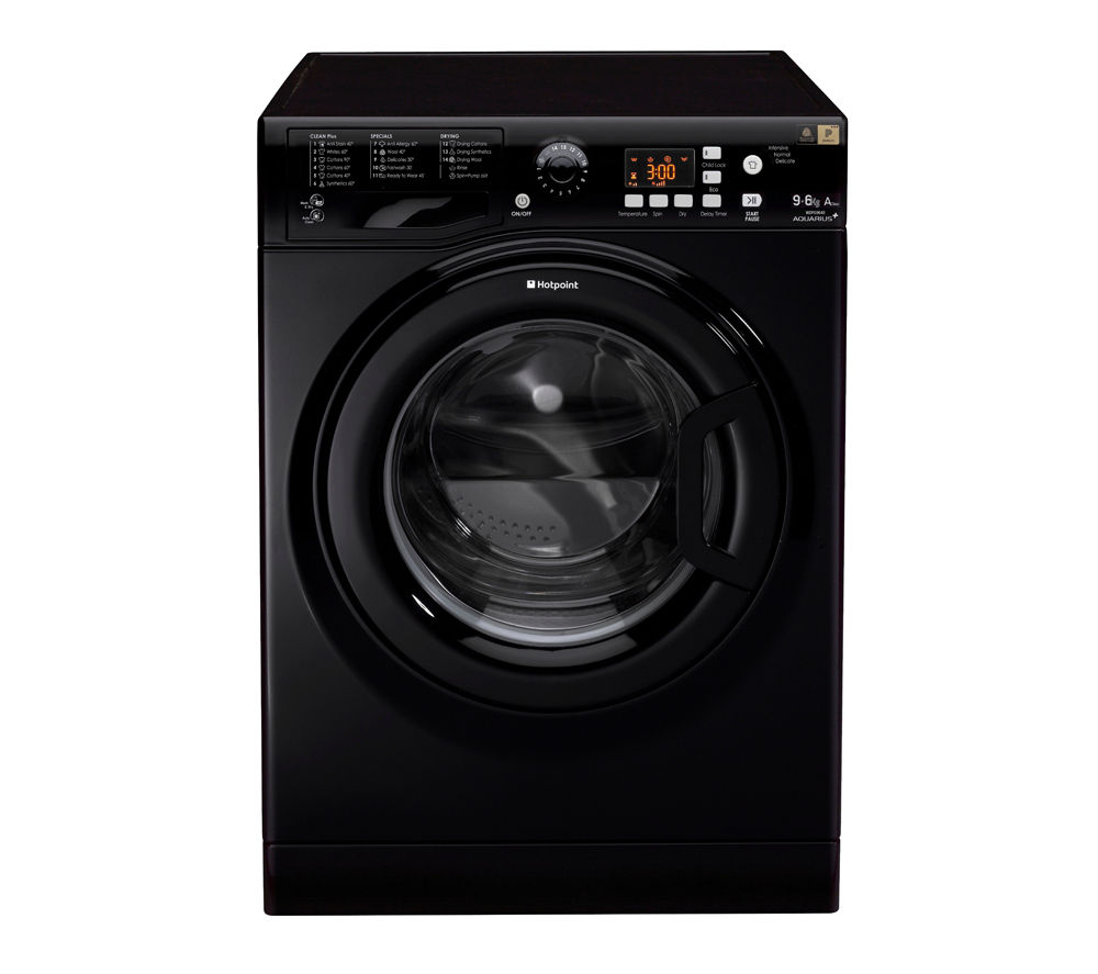 HOTPOINT  WDPG9640K Washer Dryer – Black +  SISML21011P Slimline Dishwasher - White