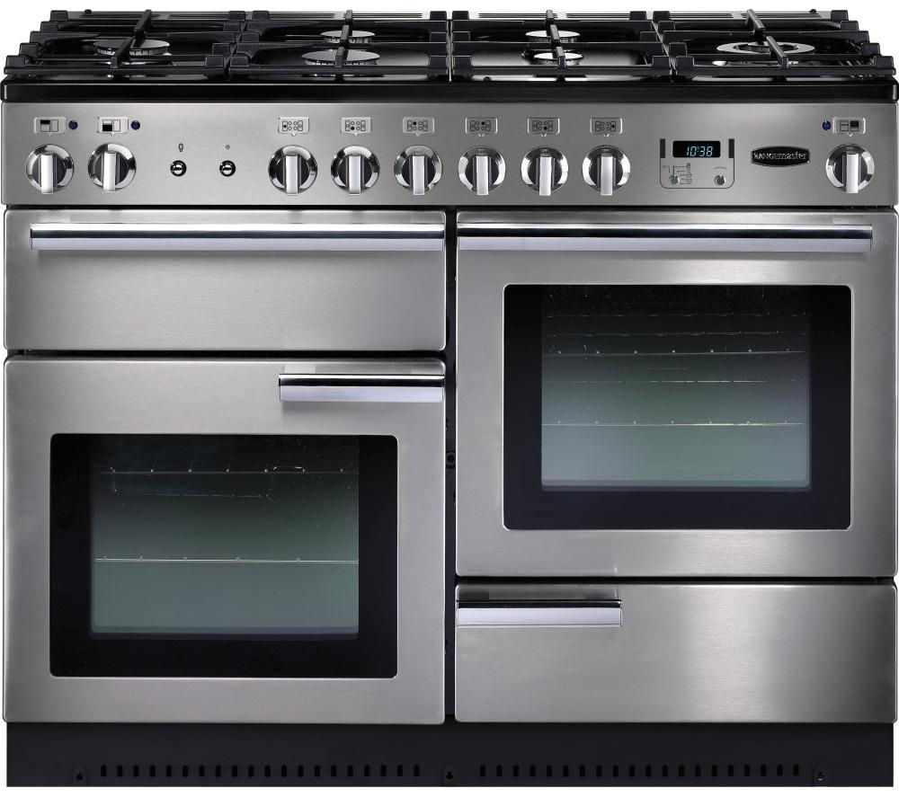 RANGEMASTER Professional+ 110 Dual Fuel Range Cooker - Stainless Steel & Chrome