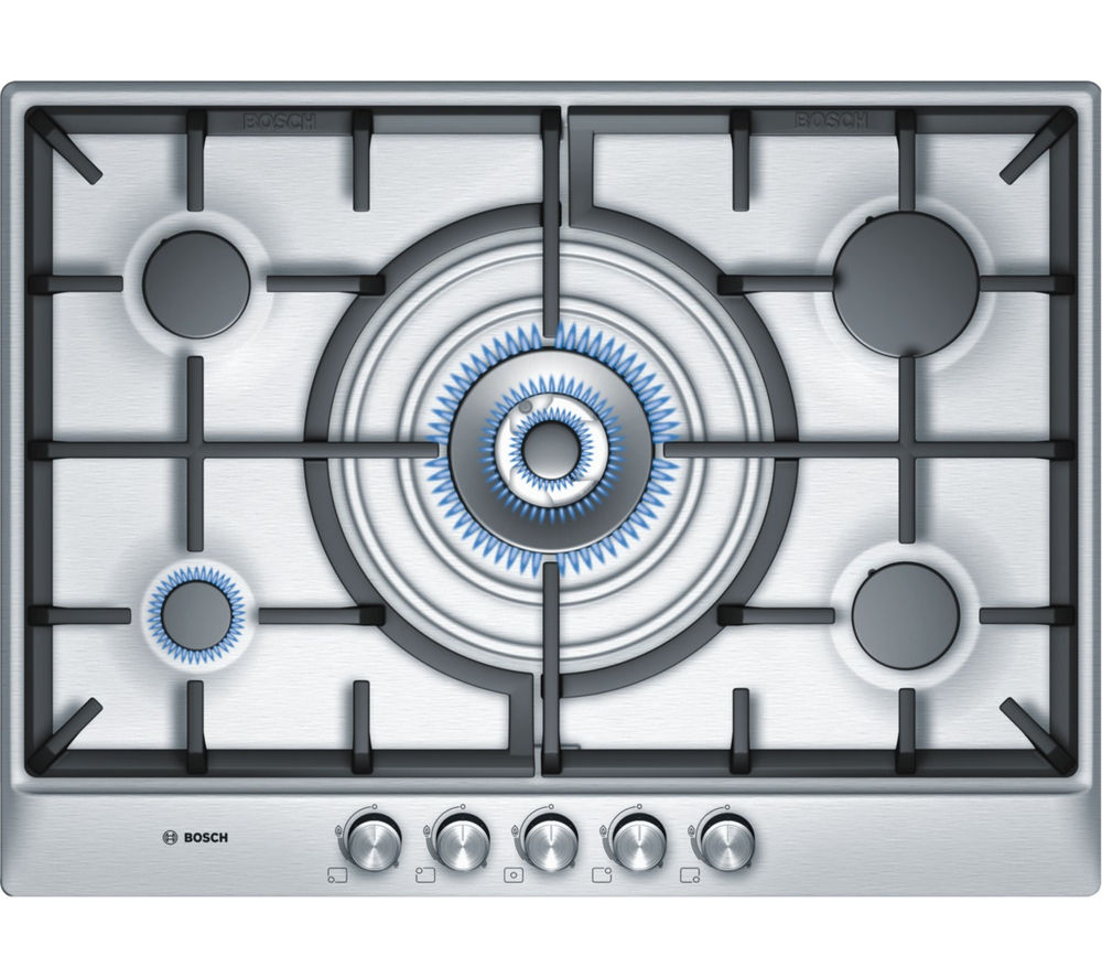 buy bosch pcq715b90e gas hob brushed steel free delivery currys. Black Bedroom Furniture Sets. Home Design Ideas