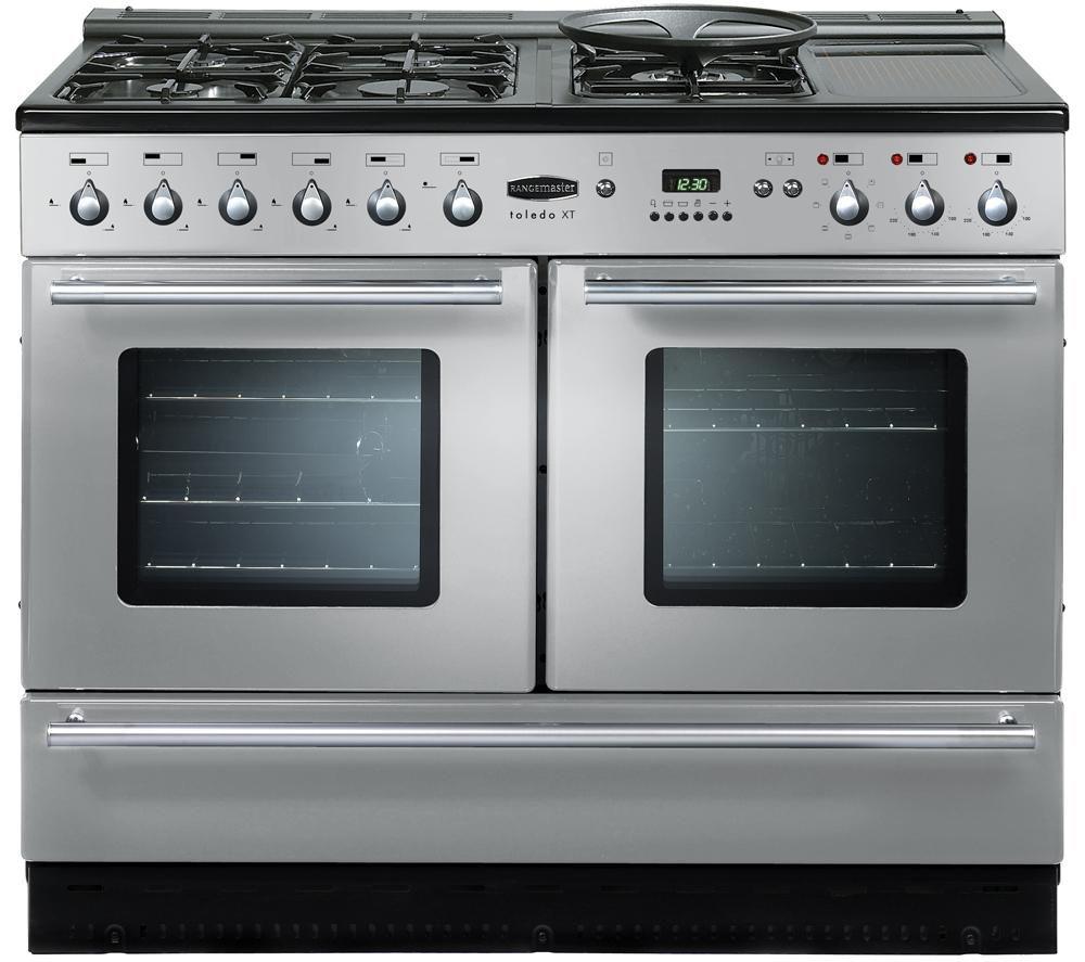 buy rangemaster toledo xt dual fuel range cooker silver