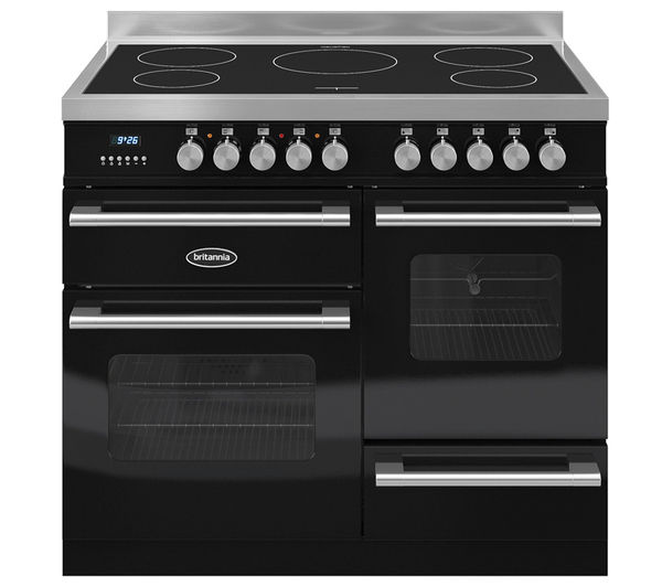 BRITANNIA RC10XGIDEK Electric Induction Range Cooker - Gloss Black & Stainless Steel